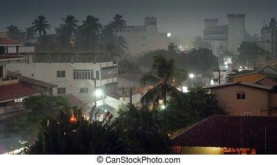 orage, île, métrage, ville, exotique, 4k, petit, typhon
