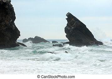 orage, atlantique, portugal., océan