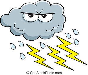 orage, dessin animé, nuage