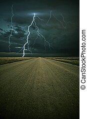 orage, devant, éclair