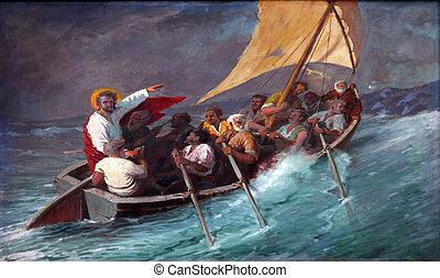 orage, mer, jésus, calms