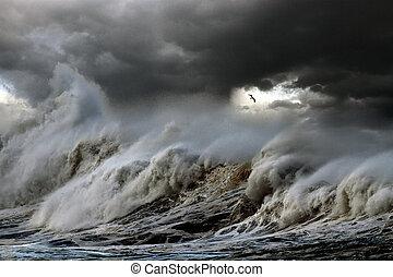 orage, mer