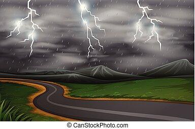 orage, route, scène