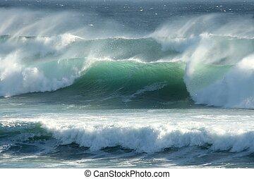 orageux, côtier, vagues