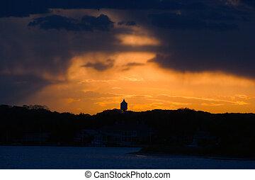 orageux, coucher soleil, silhouette