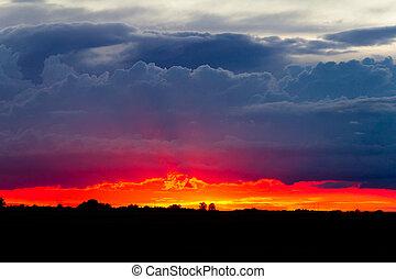 orageux, coucher soleil, sky.