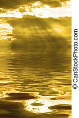 orageux, nuage, refléter, dans eau