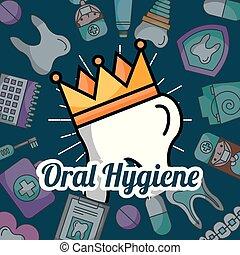 oral, art dentaire, dent, éléments, hygiène, couronne