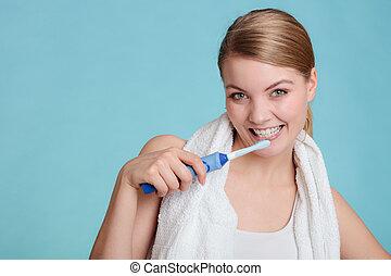 oral, brossage, girl, cavity., jeune