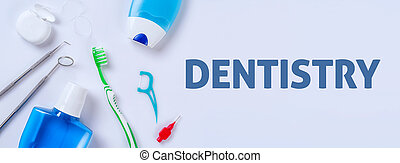 Oral care products on a light background - Dentistry