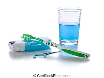 Oral care products on a white background