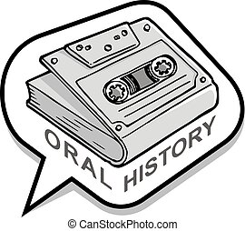 Oral History Icon - A book with audio cassette cover inside ...
