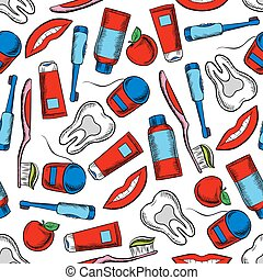 Oral hygiene and dental care seamless pattern - Oral hygiene...