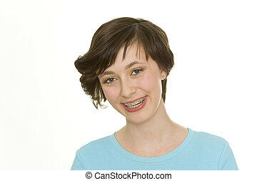 oral hygiene - isolated teenager with beautiful teeth and...