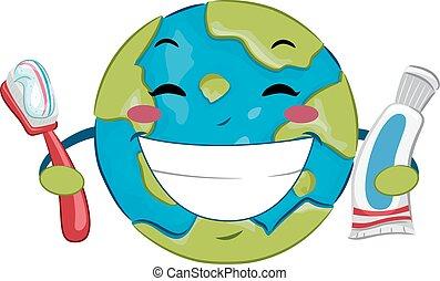 oral, mundo, pasta dentífrica, salud, día, cepillo de ...