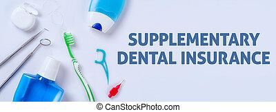 oral törődik, termékek, képben látható, egy, fény, háttér, -, kiegészítő, fogászati biztosítás
