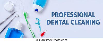 oral törődik, termékek, képben látható, egy, fény, háttér, -, profi, fogászati, takarítás