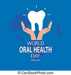 orale, concept., mondo, salute, marzo, giorno, 20.