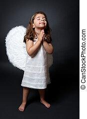 orando, anjo, com, mãos, em, adoração