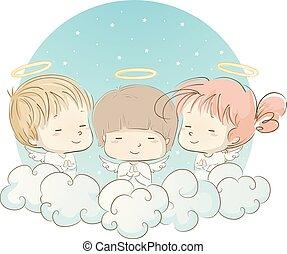 orando, anjos, ilustração, crianças