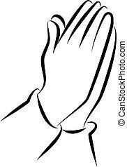 orando, arte, clip, mãos