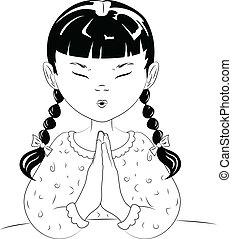 orando, criança