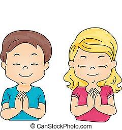 orando, crianças