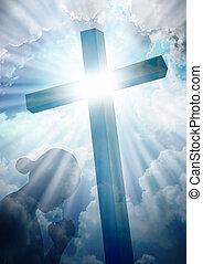 orando, crucifixos