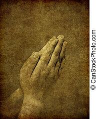 orando, fundo, mãos