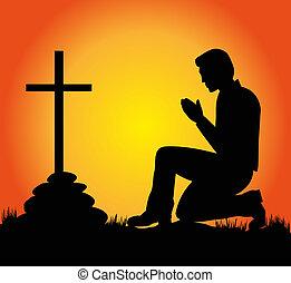 orando, homem