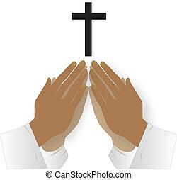 orando, junto