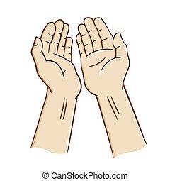 orando, mãos abertas