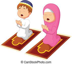 orando, muçulmano, criança