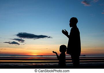 orando, pai, filho