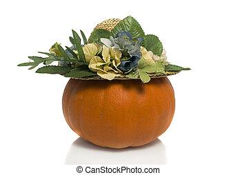 orang green pumpkin with summerhat