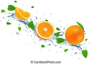 orange, éclaboussure