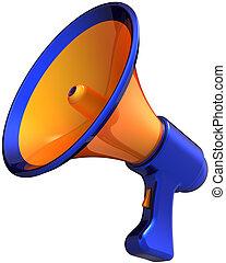 orange, élégant, porte voix, bleu