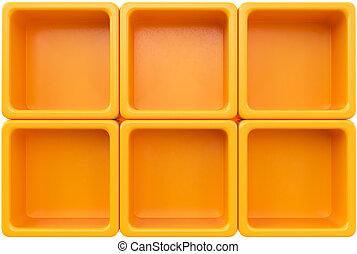 orange, étagère, vide, plastique