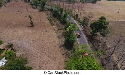 orange, étroit, camion, route, conduite