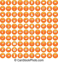 orange, 100, ensemble, asiatique, icônes