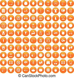 orange, 100, ensemble, fitness, icônes