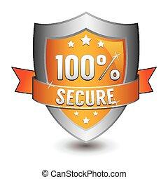 orange, 100%, protection, obtenu