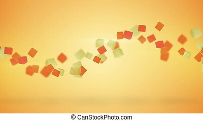 Orange 3D cubes abstract loopable background
