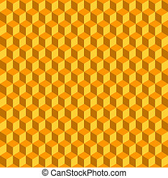 Orange 3D Cubes Abstract Seamless Background. Vector