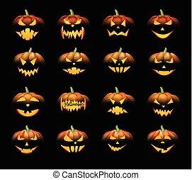 Orange 3d halloween pumpkins set.