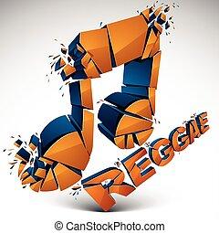 orange, 3d, vektor, zerschlagen, musikalische notiz, mit,...