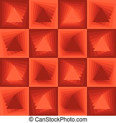 Orange abstract background, checker patterns with blending triangle texture