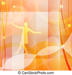 Orange abstract background with a silhouette of a girl. eps10