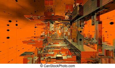 Orange Abstract Space VJ Loop - Seamlessly looping 3D orange...