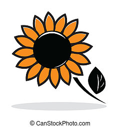 Orange abstract sunflower with grey shadow. Autumnal icon....